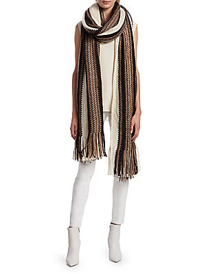 "Image of Rich mohair scarf with striped trim patterns and fringe ends. Mohair/polyamide/wool Dry clean Made in France SIZE 39""W x 98""L. Soft Accessorie - Cold Weather Accessories. Isabel Marant. Color: Red."