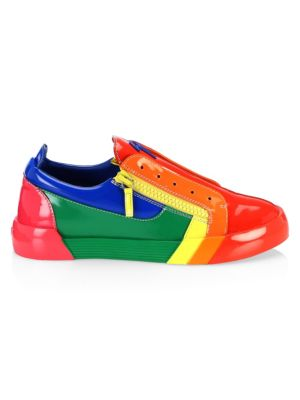 Men'S Rainbow Leather & Patent Leather Sneakers, Multi