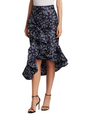 Belladonna Ruffled Floral-Jacquard Skirt, Midnight Pottery