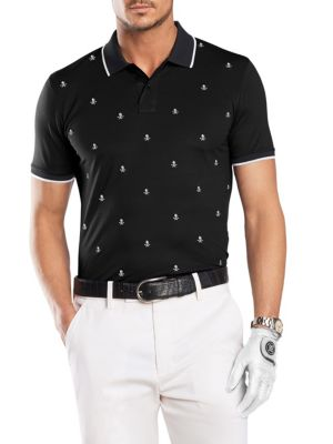 G/FORE Skull & T'S Embroidered Polo in Onyx
