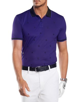 G/FORE Skull & T'S Embroidered Polo in Wisteria