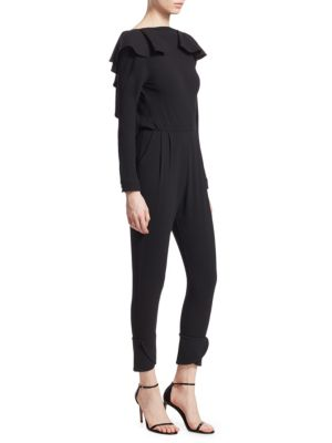 JOHANNA ORTIZ Feel Me Ruffle-Neck Open V-Back Long-Sleeve Skinny Wool Jumpsuit in Black Tourmaline