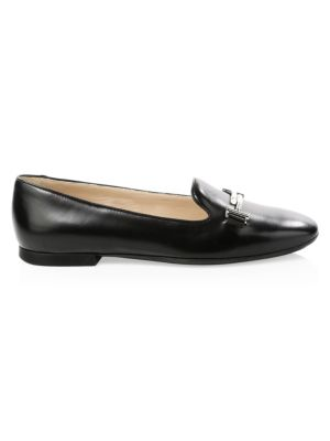 Women'S Leather Ballet Flats Ballerinas  Double T in Black