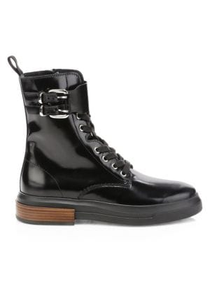 Gomma Buckle Leather Combat Boot by Tod's