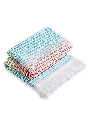 """Image of From the Christy Beach Collection. A soft ombre-effect beach towel with fringed edges and jacquard patterning. Cotton Machine wash Made in Portugal 40""""W x 70""""L. Gifts - Bed And Bath. Christy."""