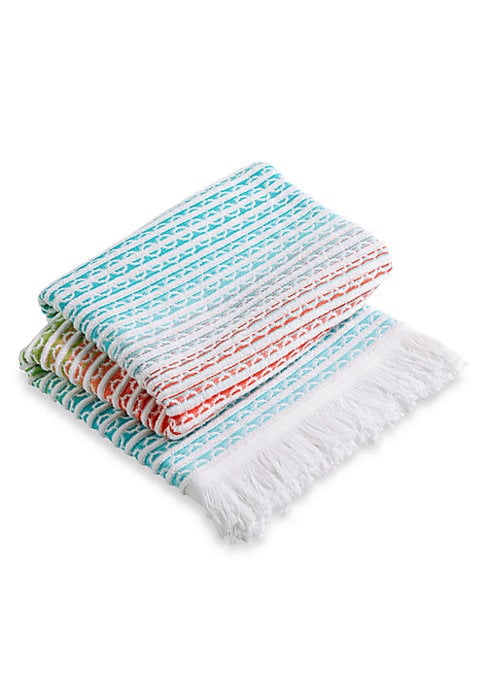 "Image of From the Christy Beach Collection. A soft ombre-effect beach towel with fringed edges and jacquard patterning. Cotton. Machine wash. Made in Portugal.40""W x 70""L."