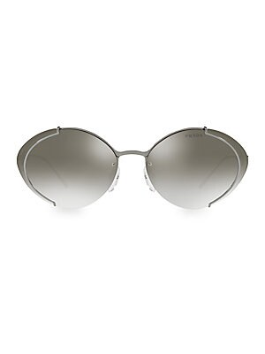 Image of Metallic oval sunglasses with lightweight metal frame 63mm lens width; 17mm bridge width; 140mm temple length Metal Made in Italy. Soft Accessorie - Sunglasses. Prada. Color: Gold.