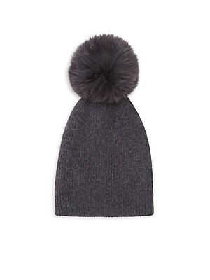 a531e444a57 Surell - Girl s Rabbit Fur Pom-Pom Cable-Knit Hat - saks.com