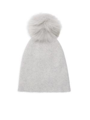 Knit Cashmere & Faux Fur Pom Pom Hat