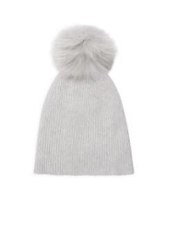 78eb83f7eba Saks Fifth Avenue. Knit Cashmere   Fox Fur Pom-Pom Hat
