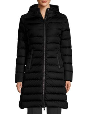 Taleve Zip-Front Hooded Mid-Length Quilted Puffer Jacket, Black