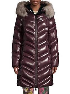 3192960bb6d0 Moncler. Fulmar Chevron Fur-Trim Hooded Coat