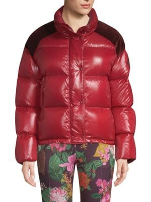 Genius Chouette Puffer Jacket W/ Contrast Shoulders in Red