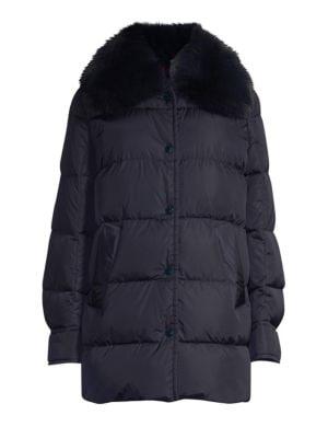 Mesange Fox Fur Trimmed A Line Coat by Moncler
