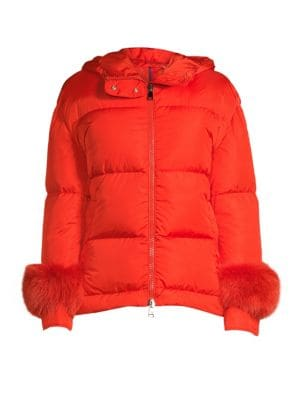 Effraie Fur-Cuff Down-Quilted Puffer Jacket - Orange Size 1 in Yellow