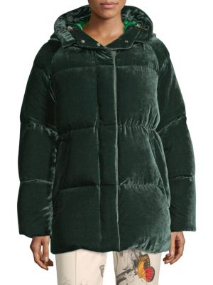 Butor Velvet Down Jacket With Silk in Green