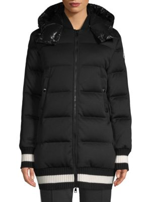 Harfang Lacquer Bomber Knit-Trim Coat in Black