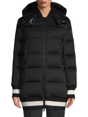 Harfang Lacquer Bomber Knit-Trim Coat, Black