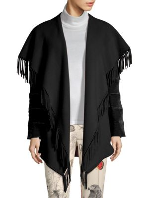 Mantella Fringed Shawl-Collar Quilted-Sleeve Wool Cape in Black