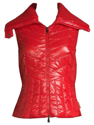 Tricot Lacquer Mixed Media Vest in Red