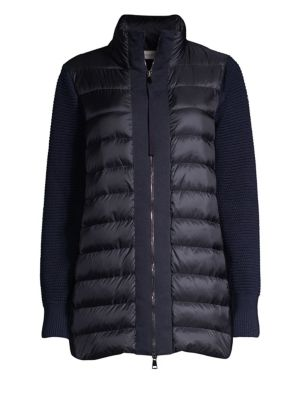 Mixed Media Long Sleeve Quilted Cardigan Jacket in Navy
