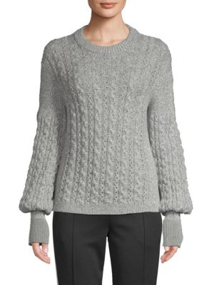 Cable-Knit Alpaca Tricot Pullover Sweater in Metallic
