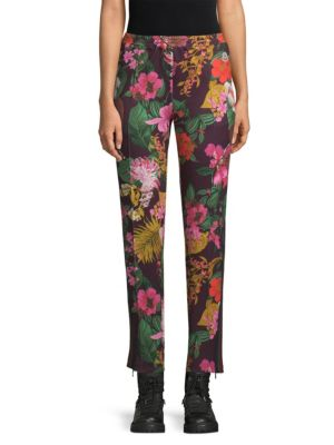 Floral-Print Straight-Leg Track Pants in Red