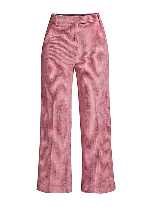 Image of Make a statement with these thick corduroy culottes finished in chic pink. Their cropped wide leg turns to flaunt athletic side stripes for a modern pant that will take you from summer to fall. Belt loops. Zip fly with button close. Side seam pockets. Sid