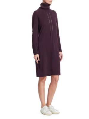 Pleat Detail Sweater Dress, Dark Purple