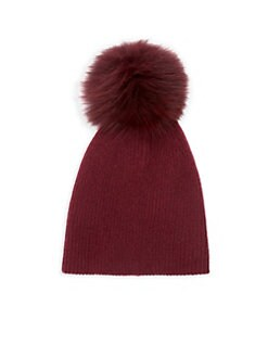 e3065352f41d1 ... Fox Fur Pom-Pom Hat DARK PLUM. QUICK VIEW. Product image