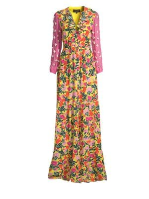 Ginny Floral Print Embellished Sleeve Silk Dress in Yellow