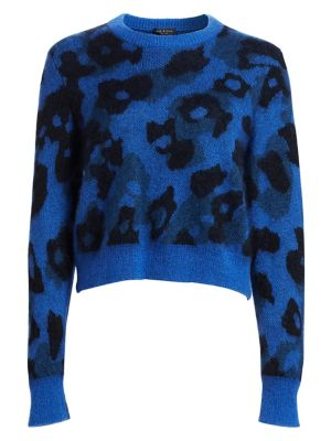 Leopard-Print Mohair-Blend Crewneck Sweater, Bright Blue