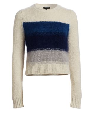 Rag And Bone White And Blue Holland Crop Sweater, Ivory Blue