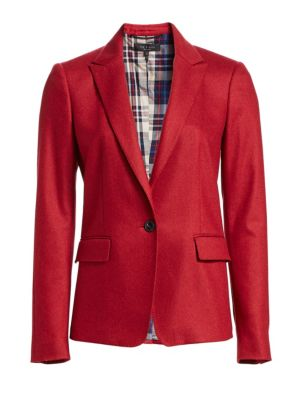 Lexington Single-Button Wool Blazer, Red Melange