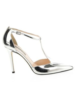 SJP BY SARAH JESSICA PARKER Taylor Metallic Leather T-Strap Pumps in Silver