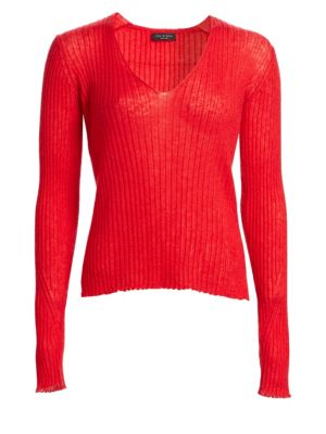Donna Wool And Mohair-Blend Sweater, Red