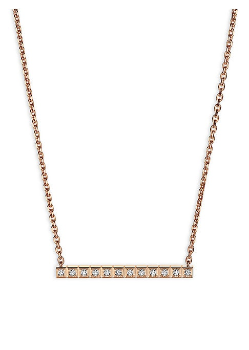 Image of Cubic geometric diamond design set in 18K rose gold. Fairmined 18K rose gold. Diamonds, 0.12tcw. Lobster clasp. Made in Switzerland.
