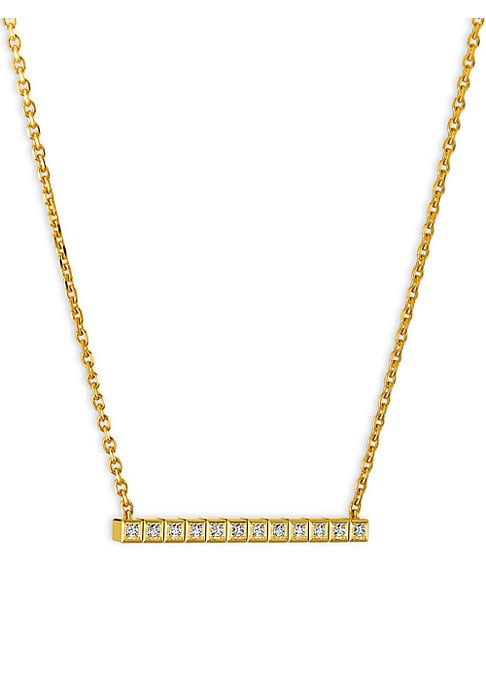Image of Cubic geometric diamond design set in 18K yellow gold. Fairmined 18K yellow gold. Diamonds, 0.12tcw. Lobster clasp. Made in Switzerland.