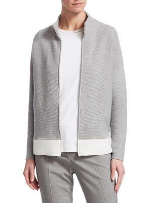 Contrast Hem Wool Silk Cashmere Cardigan in Ivory Beige