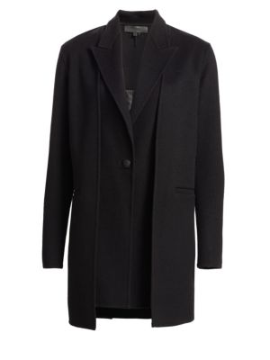 Kaye Wool Single-Button Coat With Vest in Black