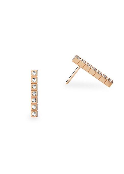 Image of Cubic geometric diamond design set in 18K rose gold. Fairmined 18K rose gold. Diamonds, 0.14tcw. Post back. Made in Switzerland.