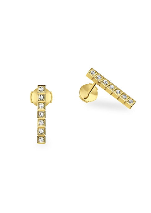 Image of Cubic geometric diamond design set in 18K yellow gold. Fairmined 18K yellow gold. Diamonds, 0.14tcw. Post back. Made in Switzerland.