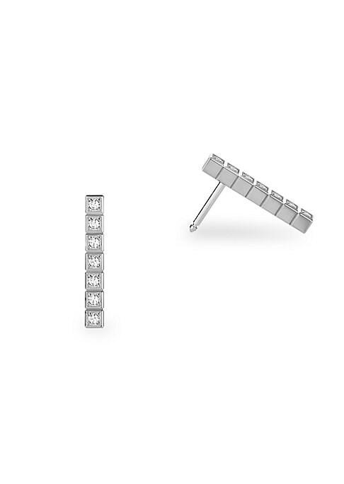 Image of Cubic geometric diamond design set in 18K white gold. Fairmined 18K white gold. Diamonds, 0.14tcw. Post back. Made in Switzerland.