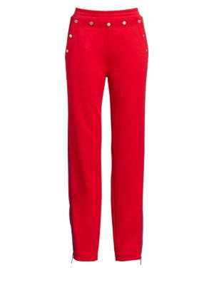 Naval Button-Detail Track Pants, True Red