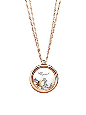 Image of Diamond-studded celestial charms float inside enchanting rose gold pendant. Diamonds, 0.22 tcw 18K rose, yellow and white gold Lobster clasp Made in Switzerland SIZE Length, about 23.5. Fine Jewelry - Chopard Watches And Jewe. Chopard. Color: Rose Gold.