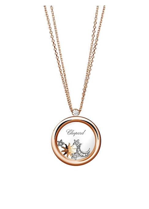 """Image of Diamond-studded celestial charms float inside enchanting rose gold pendant. Diamonds, 0.22 tcw.18K rose, yellow and white gold. Lobster clasp. Made in Switzerland. SIZE. Length, about 23.5""""."""