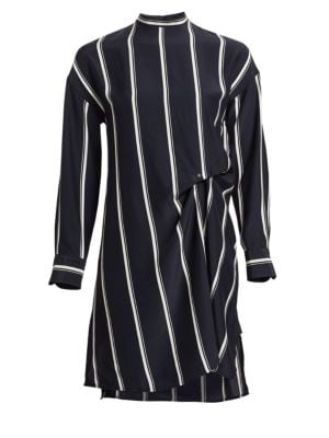 Jacklin Striped Long-Sleeve Draped Silk Shirtdress, Navy Stripe