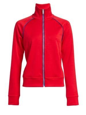 Naval Zip-Front Raglan Track Jacket in True Red