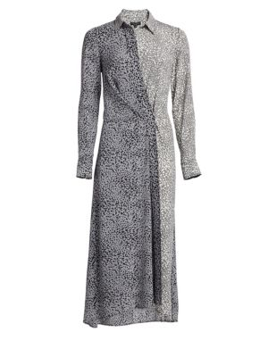 Karen Silk Asymmetric Leopard Print Shirtdress in Grey