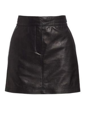 Mila Lambskin Leather Miniskirt in Black